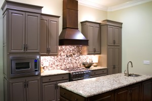 Dalton, GA New modern luxury kitchen cabinets, with gas stove and granite countertops and high ceiling.